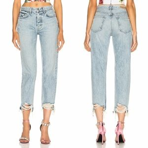 Grlfrnd Helena High Rise Distressed Hem Jeans 32